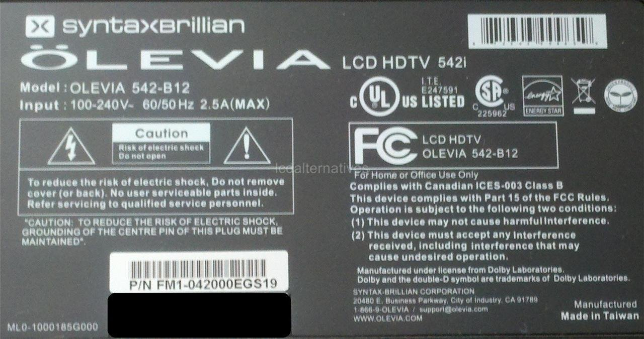 olevia 542 b12 lcd tv repair kit capacitors only not the entire rh amazon com olevia 542-b12 specs