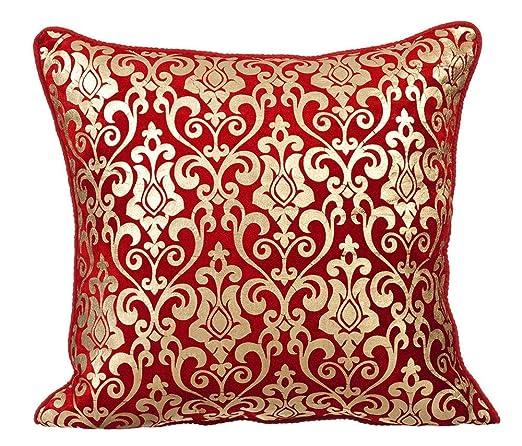 rojo fundas de cojines decorativos, Moderno floral funda ...