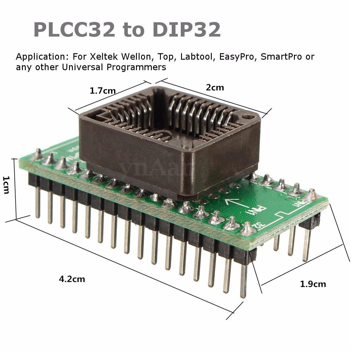 Buyyart New 1pcs Plcc32 To Dip32 Programmer Universal Pic Circuit Electronics
