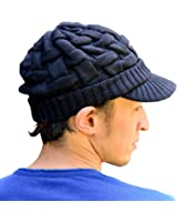 つば付きニット帽 コットンクロス編み ニット帽 レディース メンズ ニットキャップ つば付き ニット 帽子 キャスケット 大きい 厚手 防寒