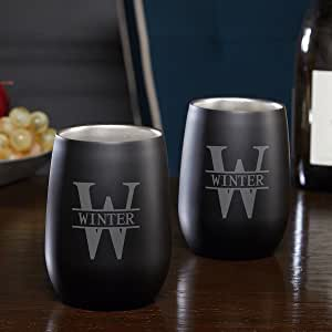 Oakmont Engraved Stainless Steel Wine Glasses, Set of 2 (Personalized Product)