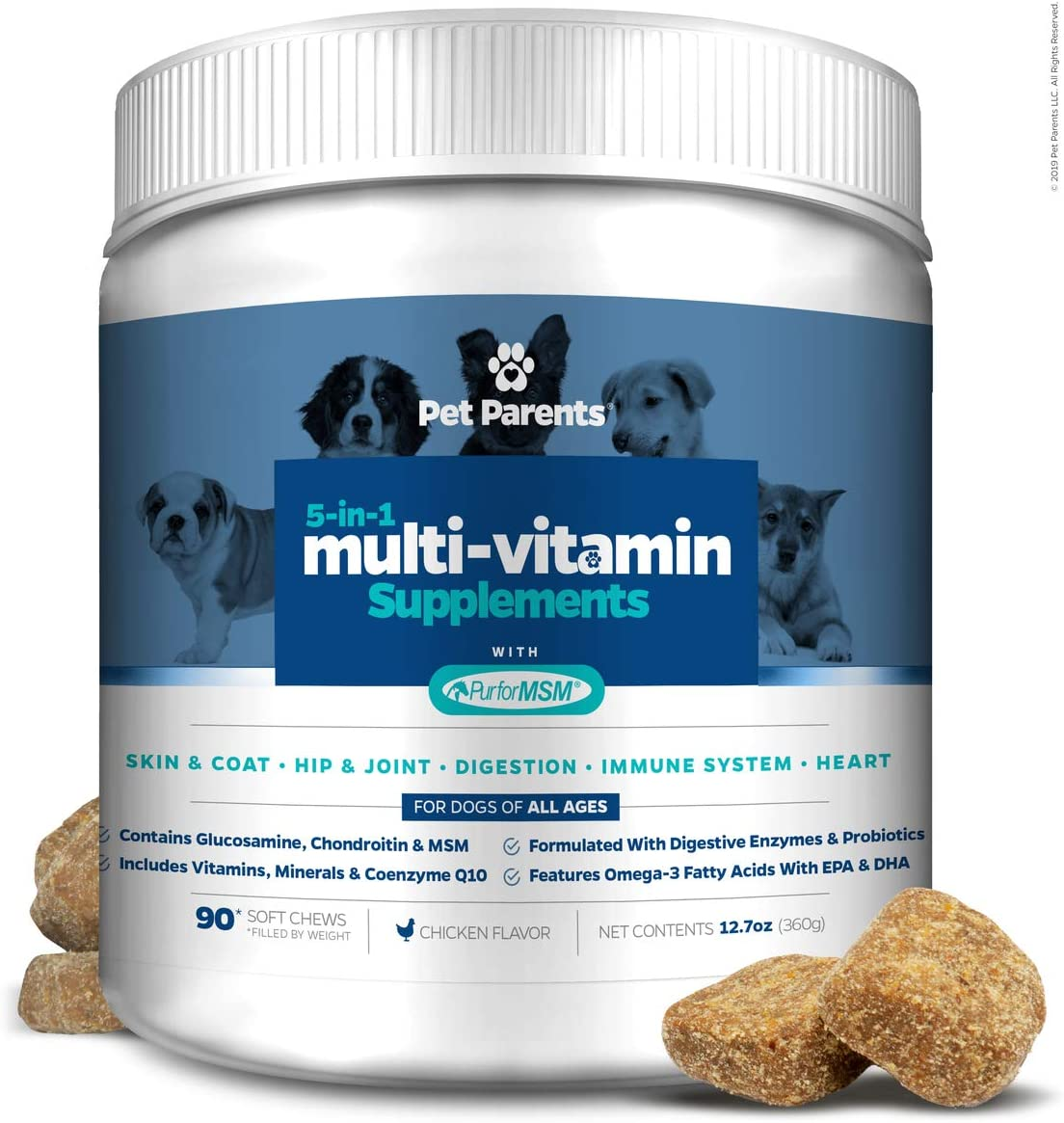 Pet Parents USA Dog Multivitamin 4g 90c- Omega 3 For Dogs Glucosamine for Dogs Dog Probiotics MSM for Dogs, Multivitamin for Dogs, Dog Vitamins Dog Immunity, Vitamins For Dogs Puppy Vitamins