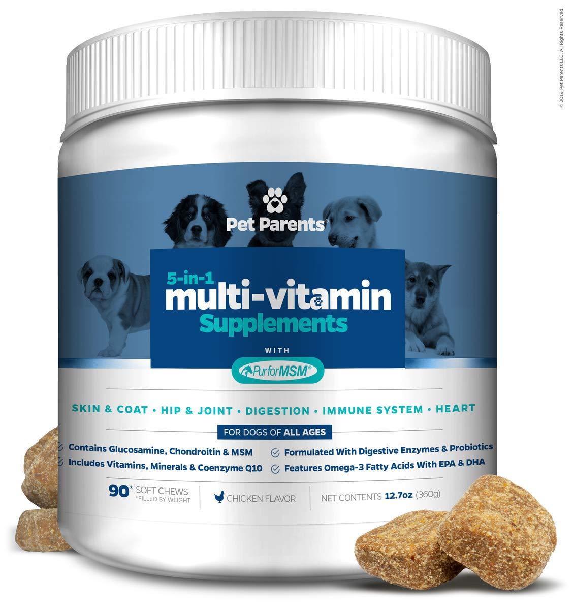 Pet Parents USA Dog Multivitamin 4g 90c- Omega 3 For Dogs Glucosamine for Dogs Dog Probiotics MSM for Dogs, Multivitamin for Dogs, Dog Vitamins Dog Immunity, Vitamins For Dogs Puppy Vitamins