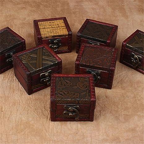 Caja de almacenamiento de joyería de madera tallada con flores antiguas de Bruss08 Retro, caja