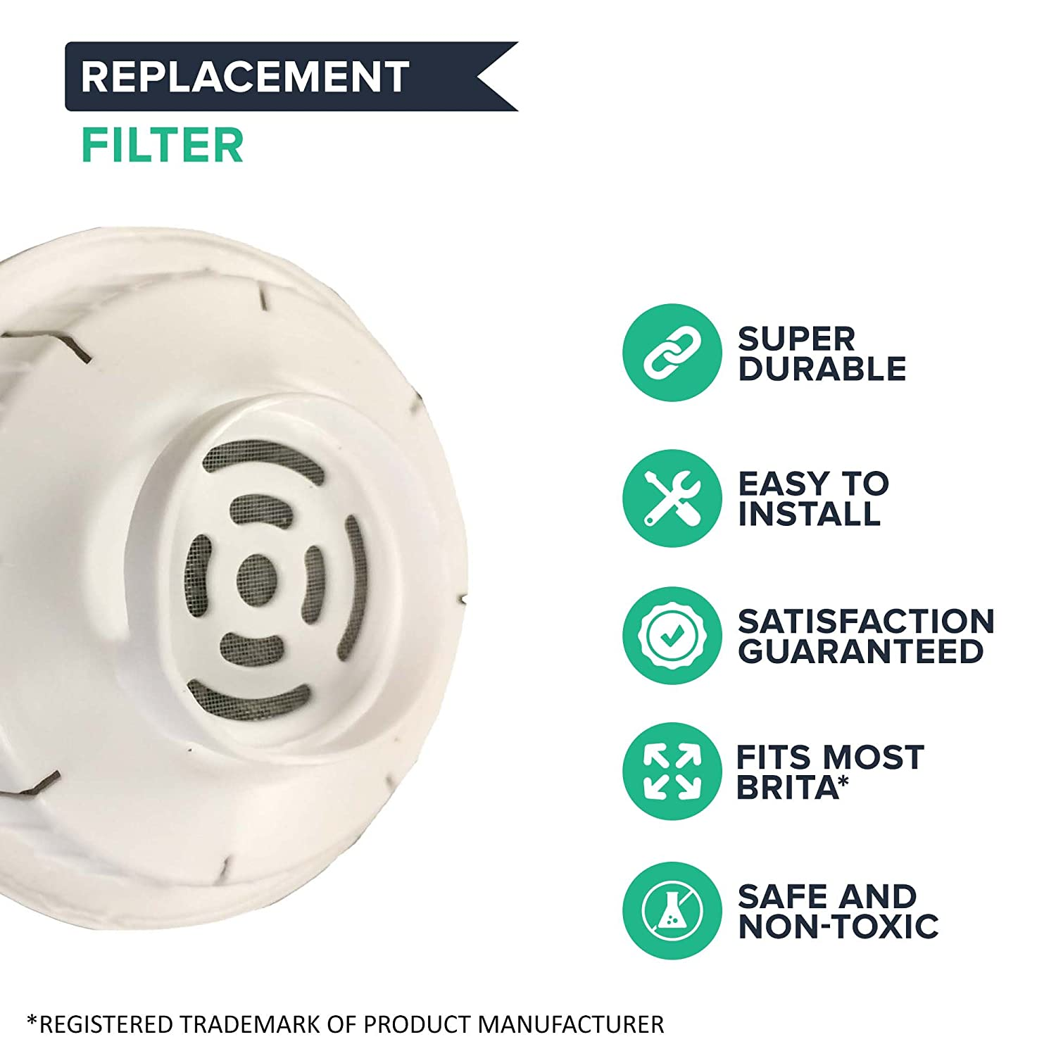 Think Crucial 2 Replacements for Brita Water Filter Fits Pitchers /& Dispensers