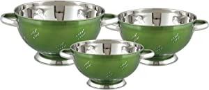 nu steel pc Stainless Steel Colander for Home, Food Storage Organizers-Set Includes 1QT, 3, 5 QT Capacity Kitchen Strainer, 11 x 11 x 7, Green