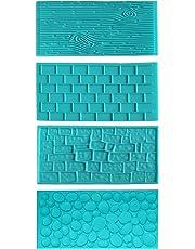 Kit 4 Piezas Moldes Plásticos Grabar Glaseado por Kurtzy - Diseños de Ladrillo, Madera,