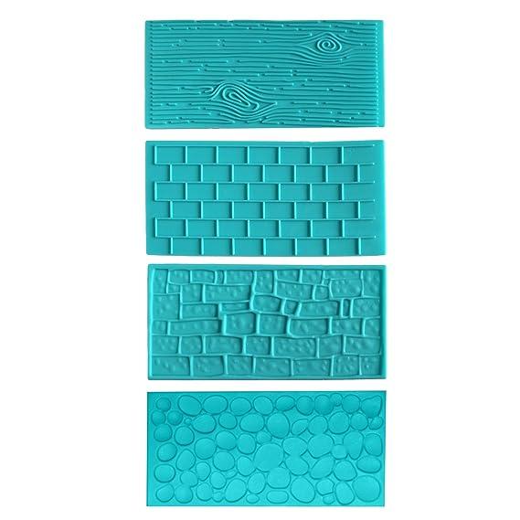 Kit 4 Piezas Moldes Plásticos Grabar Glaseado por Kurtzy - Diseños de Ladrillo, Madera, Adoquines y Piedras para Chocolate y Glaseado - Fácil de Limpiar- ...