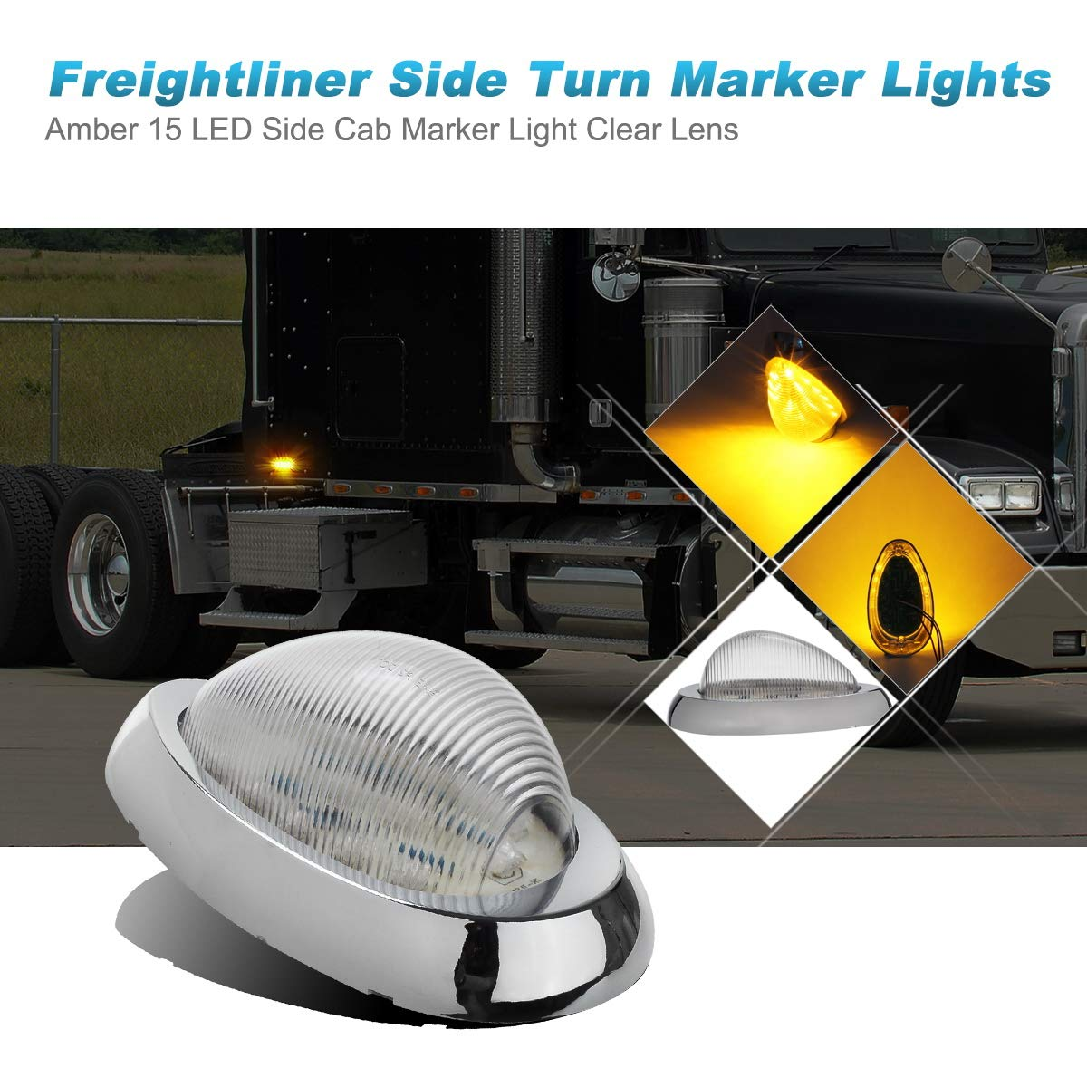 Partsam 2X Clear//Amber 5-7//8 Led Side Marker Lamp Turn Signal Teardrop Light 15LED Sealed Replacement for Freightliner Century//Columbia Amber LED Side Marker Signal Light w Chrome Bezel Clear Lens