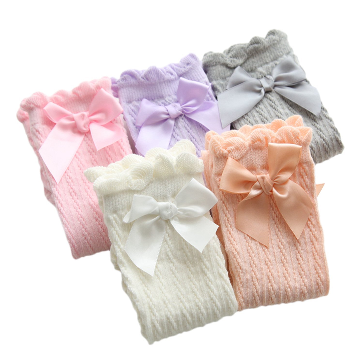 XPX Garment 5 Pack Bow Kids Girls Knee High Socks Frilly Baby Girls Long Socks 2-12 Years