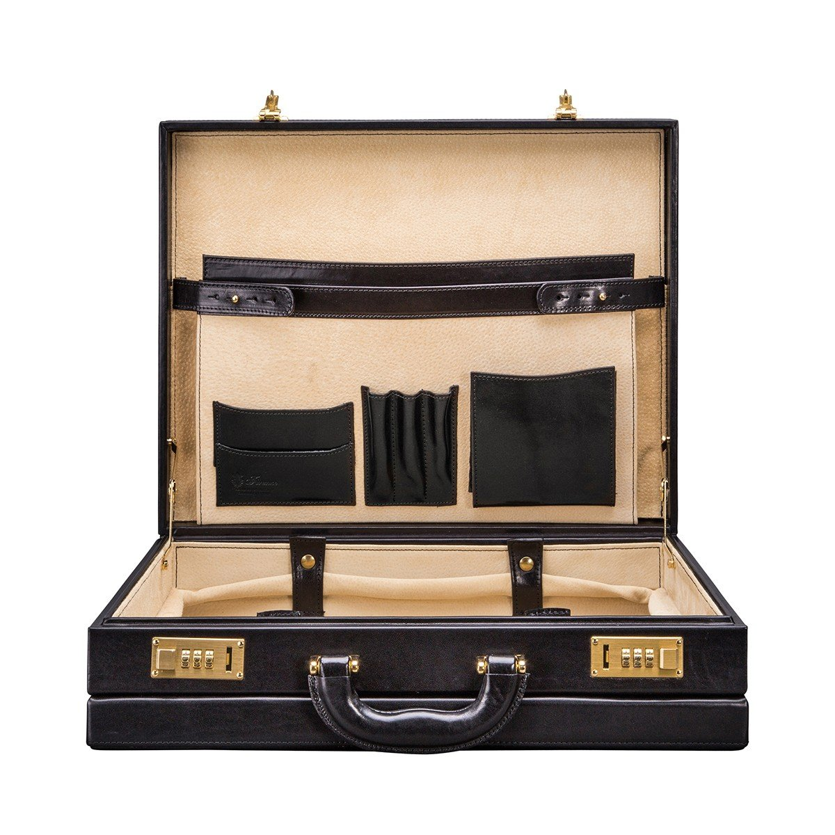 Maxwell Scott Personalized Deluxe Handcrafted Finest Italian Leather Black Attache Case (The Strada)