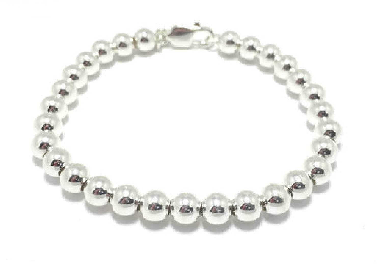 Womens 6mm Silver Ball Bracelet 925 Sterling silver ball bead bracelet 6mm silver beaded bridal gift bracelet wedding jewelry bridal jewelry