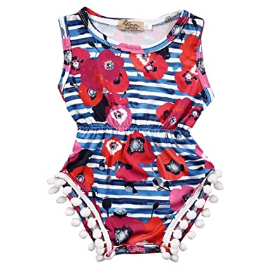 d40914923fc7 Amazon.com  Dovee Baby Girls Floral Summer Sleeveless Striped Romper  Jumpsuit Outfits Clothes  Clothing