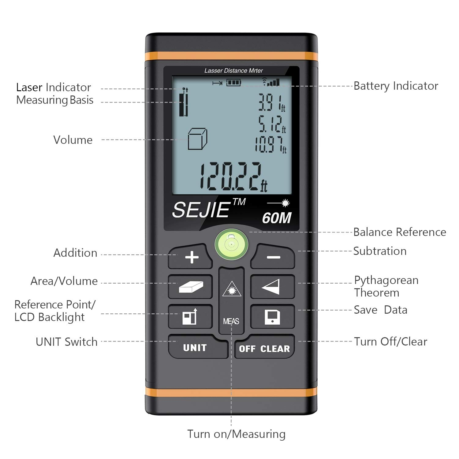 Laser Measure, ESYWEN Digital Laser Distance Meter 196ft Laser Tape Measure with Large LCD Backlight Display and Pythagorean Mode, Measure Distance/Area/Volume by ESYWEN (Image #7)