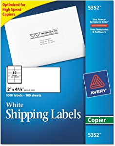 Avery 5352, Avery White Copier Mailing Labels, AVE5352, AVE 5352