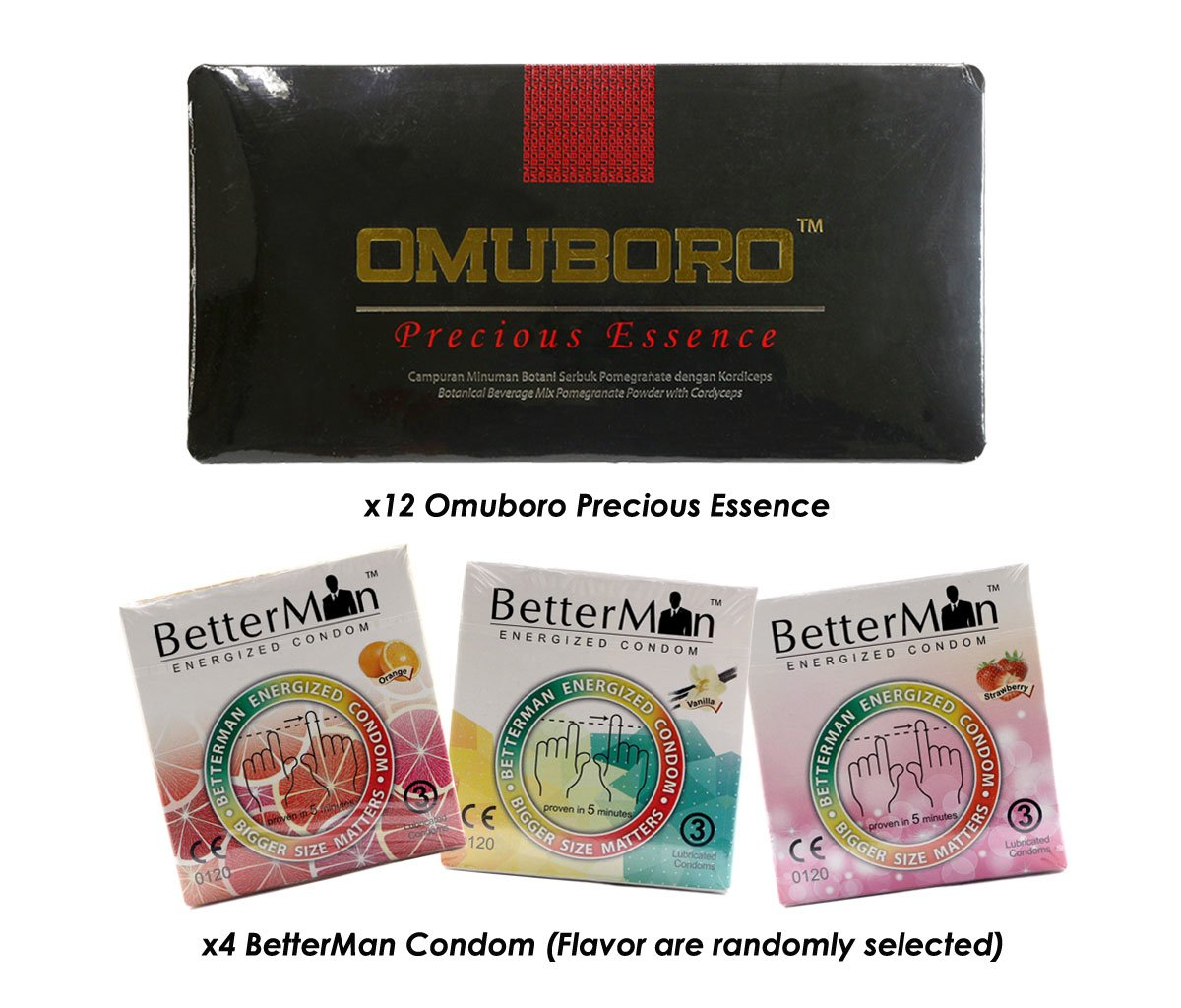 (12) Pack Omuboro Precious Essence Longer Erection & Improve Male Health Perfomance + Free (4) Box BetterMan Anion Condom with OxyPlus formula