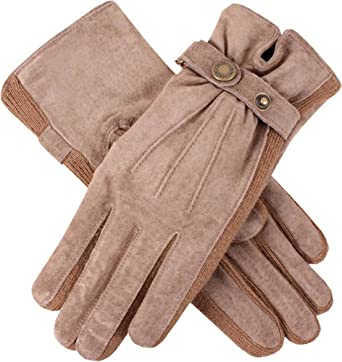 4448c97385f Dents Womens Laura Strap Detail Suede Gloves - Oatmeal Cream - Small