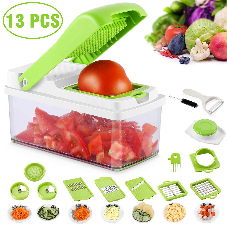 NICEAO Mandolina 13 en 1 Cortadora y trituradora de cortadores de Alimentos, picadora de Frutas