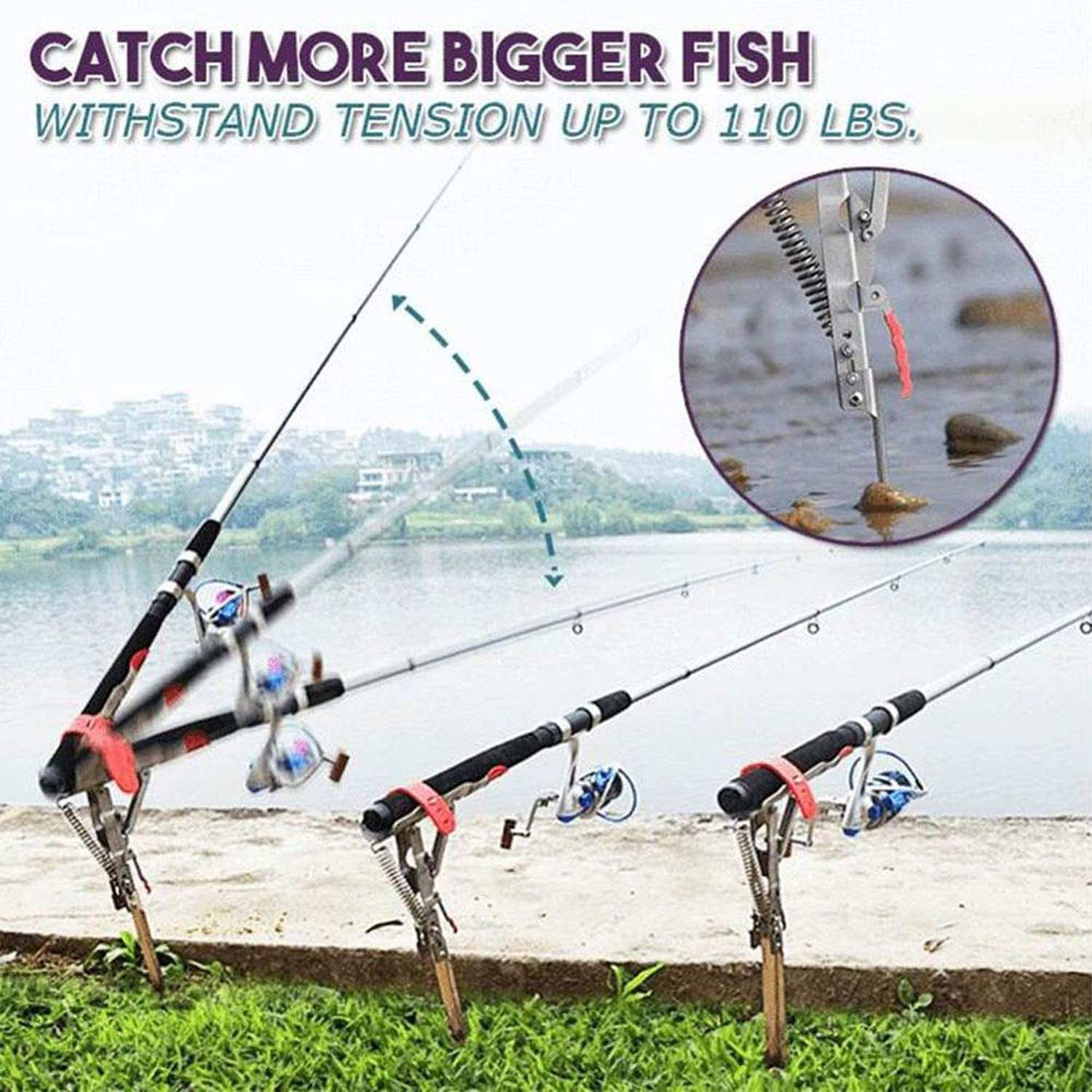 Details about  /Automatic Fishing Pole Double Spring Angle  Tackle Bracket Anti-Rust Foldable