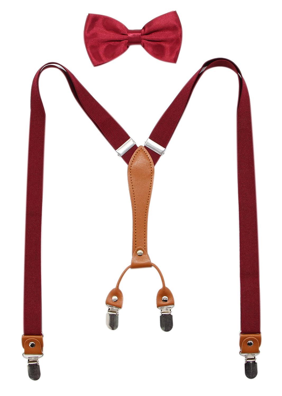 Biotetri Men Suspenders & Pre Tied Bowtie Set | Adjustable Straps, PU Leather PU Leather (Black) HJ67KLP-1