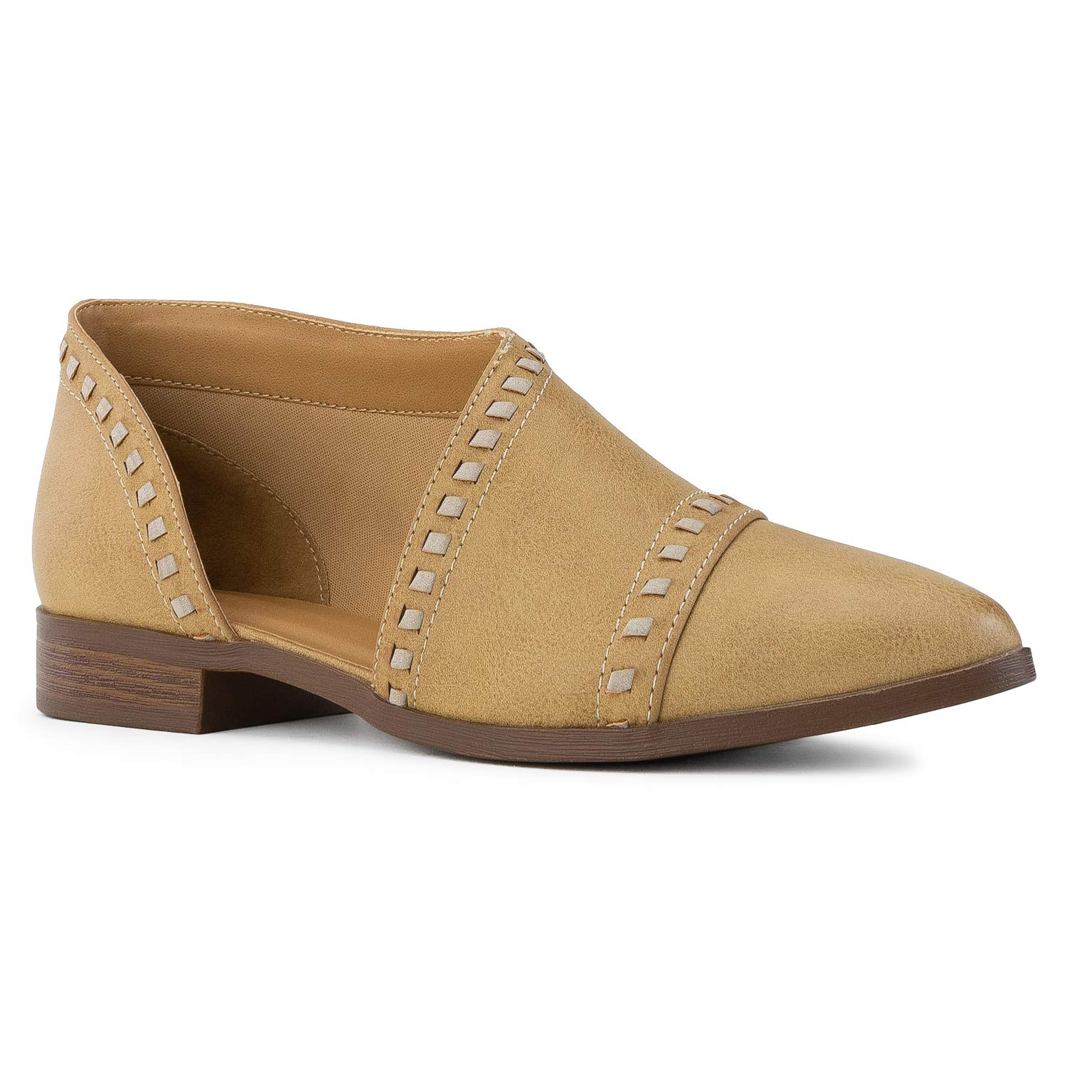 Camel Vegan Distressed Leather - 1 RF ROOM OF FASHION Women's Almond Toe Open Shank Slip On Loafers - Western Inspired Stacked Heel shoes - Vegan Low Heel Flats