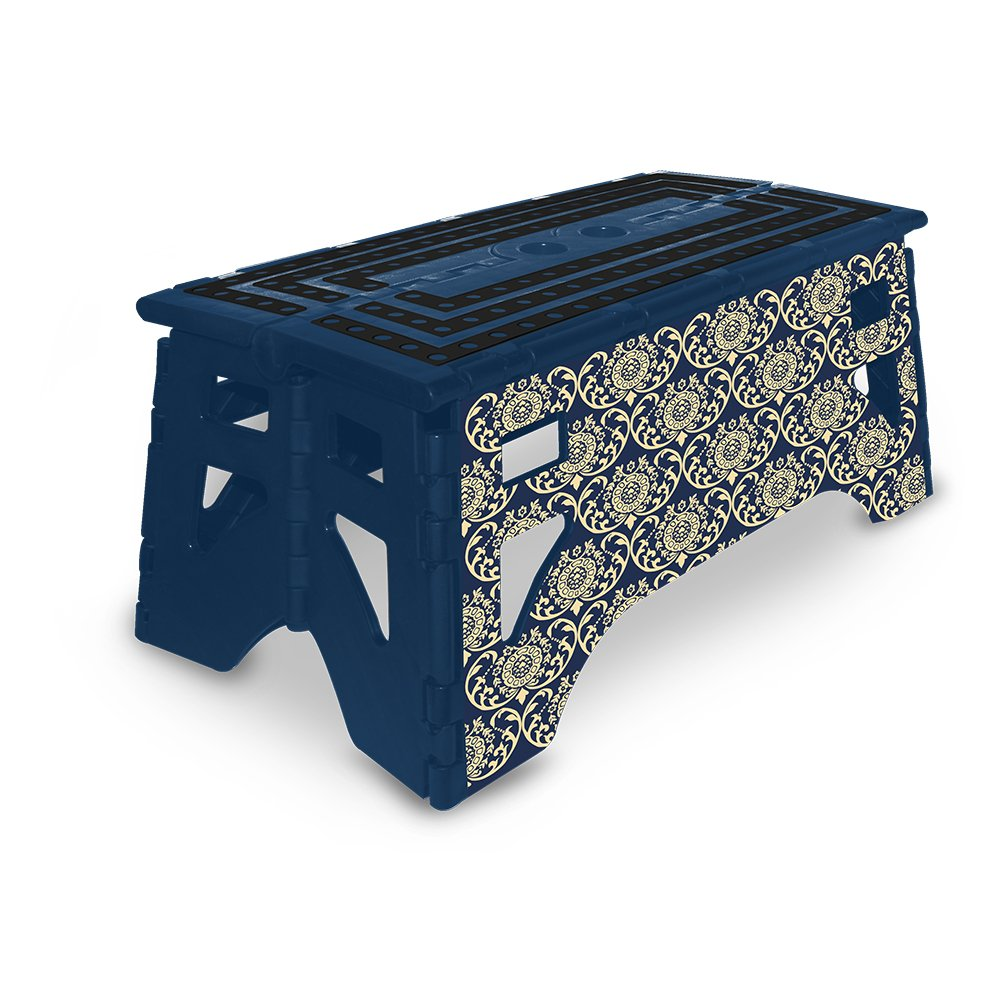 eXpace 13 Inch Wide Plastic Folding Step Stool for Adults, Supports up to 350 lbs, Non Slippery Multipurpose Platform, Royal Blue Damask