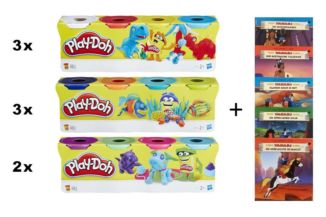 Play-Doh XXL Knetpaket mit 32 Bechern Knete - 3,5 kg MEGA Knet Set  Yakari Minibücher 5er Pack (gratis) B0786LFPS1 | Bunt,