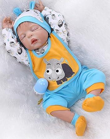 """22/"""" Silicone Boy Doll Reborn Baby Dolls Handmade Lifelike Sleeping Gift Toy Doll"""