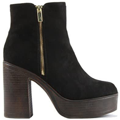 1be70016a339c FrontCover Style 5 Black Faux Suede Size 8 - Womens Ladies Chelsea MID HIGH  Heel Booties