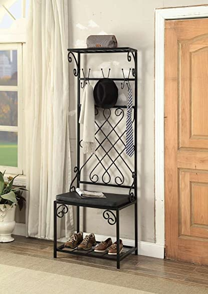 Black Metal And Bonded Leather Scroll Design Entryway Shoe Bench With Coat  Rack Hall Tree Storage