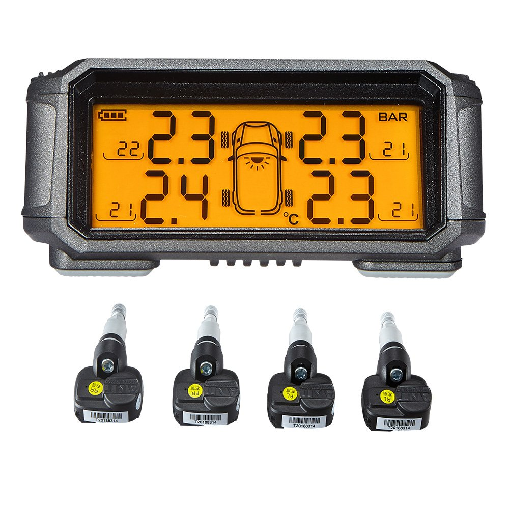 TPMS Tyre Pressure Monitoring System 4 internal sensors LCD display Temperature Alarm Suitable for Tire Pressure Lower than 130 PSI (9 Bar)T60i[Solar Powered]] Yunfu