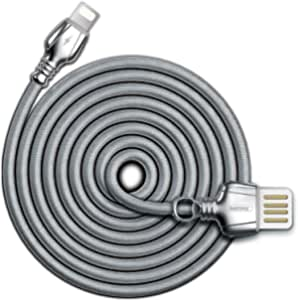 REMAX King Data Cable Lightning Charging Data Cable 2.1a for iPhone Apple USB Port Devices Rc-063i,Silver