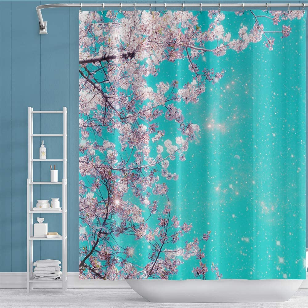 OFila 60x72 Inch Cherry Floral Shower Curtain Nature Blossom Pink Flowers on Blue Background Pattern Waterproof Polyester for Home Dorm Bathroom Decor Bathtub with Hooks