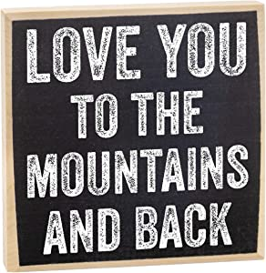Love You to The Mountains and Back - Rustic Wooden Sign - Makes a Great Gift Under $15!