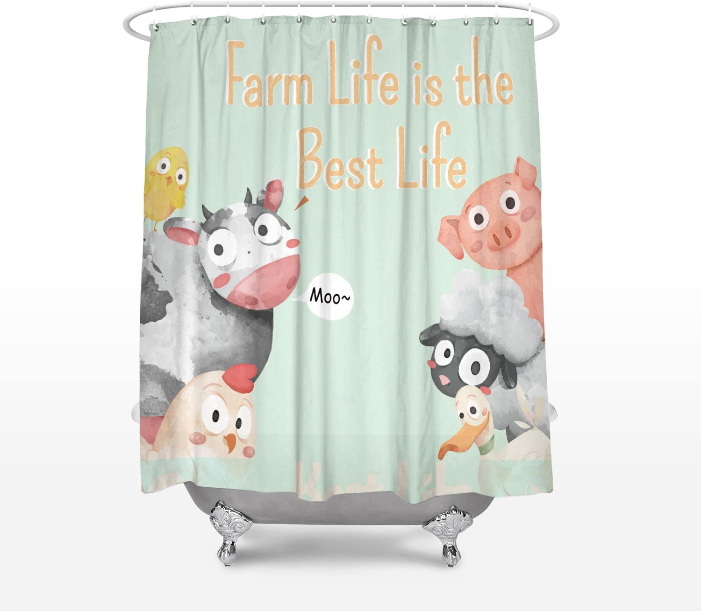 Farm Animals Chicken with Mandala Waterproof Shower Curtain Plastic Hooks 71inch