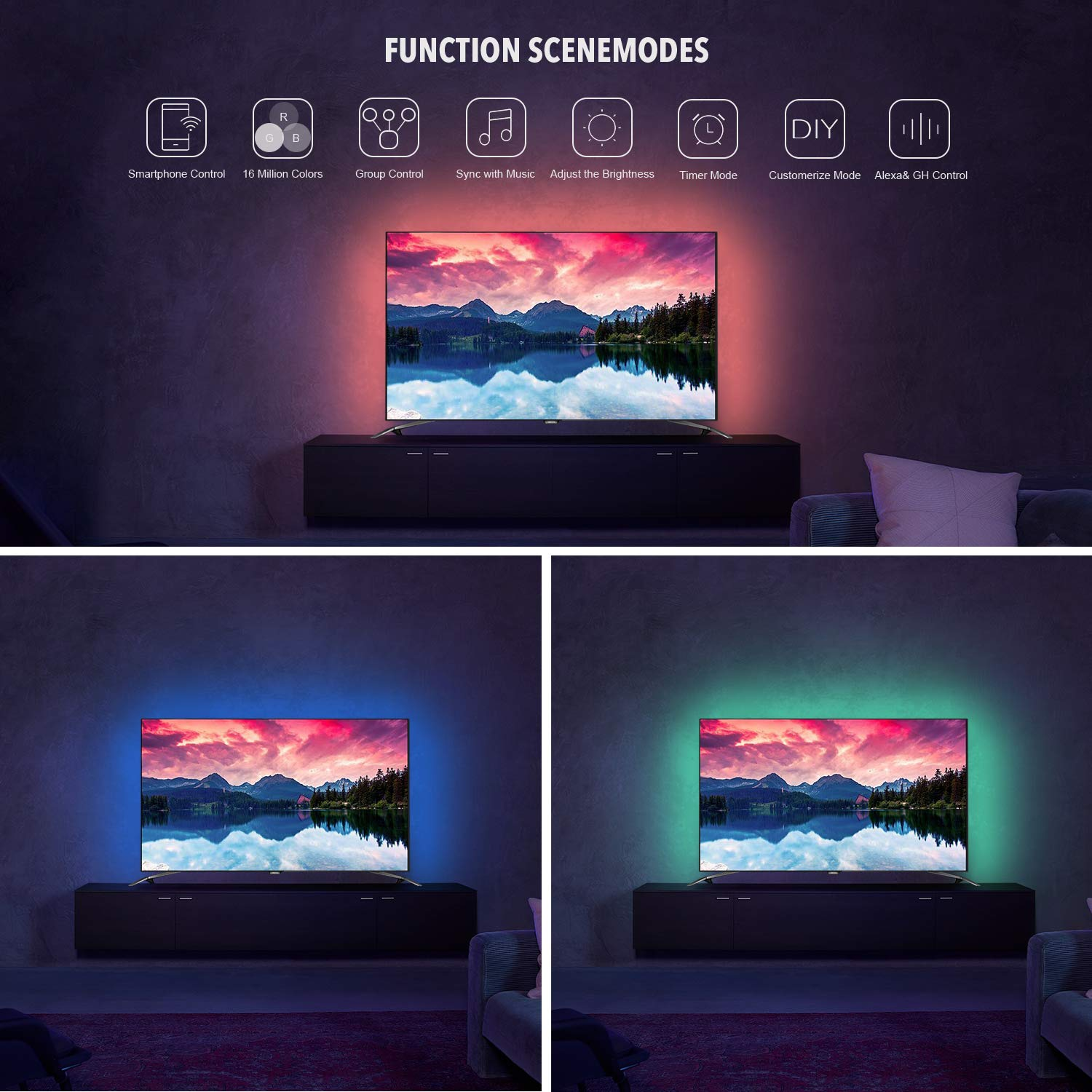 AEGOOL USB WIFI PC/TV Backlights Kit, Sync to Music Wireless RGB Multicolor LED Screen Accent Strip Lighting 9.8ft/3m 90LEDs 5050 Dimmable Color Bias String Lights via Alexa Smart Phone APP Android IO by AEGOOL (Image #3)