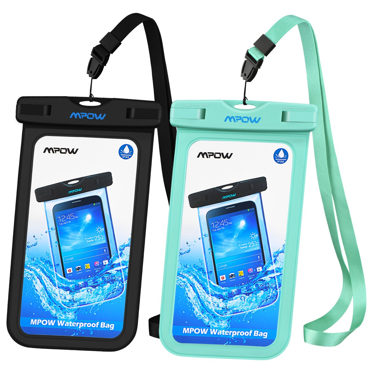 Mpow Universal Waterproof Case, IPX8 Waterproof Phone Pouch Dry Bag Compatible for iPhone Xs Max/Xs/Xr/X/8/8plus/7/7plus/6s/6/6s Plus Galaxy s9/s8/s7 Google Pixel HTC12 (Light Blue+Black 2-Pack)