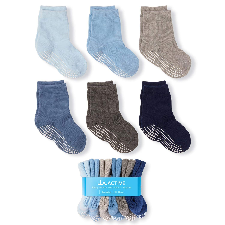 Baby Toddler Infant Newborn Kids Boys Girls Non Slip//Anti Skid LA Active Athletic Crew Grip Socks 6 Pairs