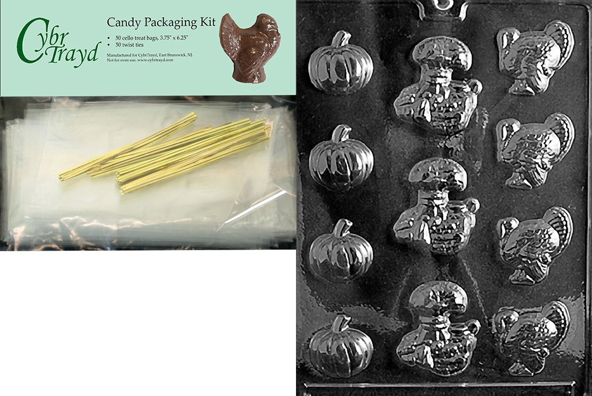 50 Gold Twist Ties and Chocolate Molding Instructions Cybrtrayd MdK50T-T002 Thanksgiving Assortment Thanksgiving Chocolate Mold with Chocolate Packaging Kit Includes 50 Cello Bags