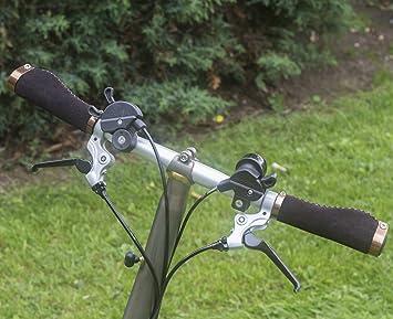 Mango ergonómico para Brompton – Bicicleta plegable (ante sintético, aluminio cerradura