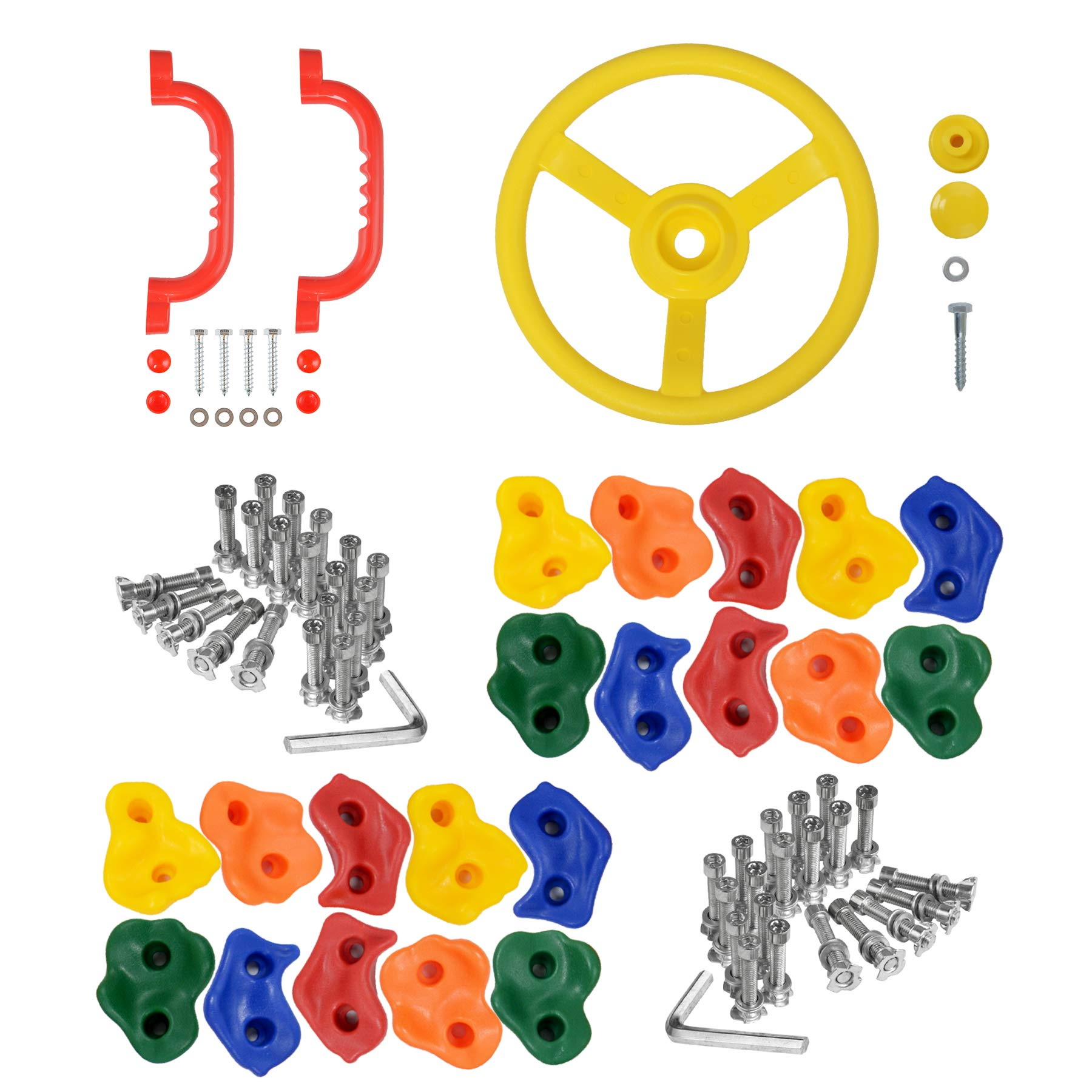 Jozeit 20 pcs DIY Rock Climbing Holds Stone with Steering Wheel Set - Incl. Mounting Screws and Hooks Hardware Included - for Kids Indoor and Outdoor Play Set Use by Jozeit