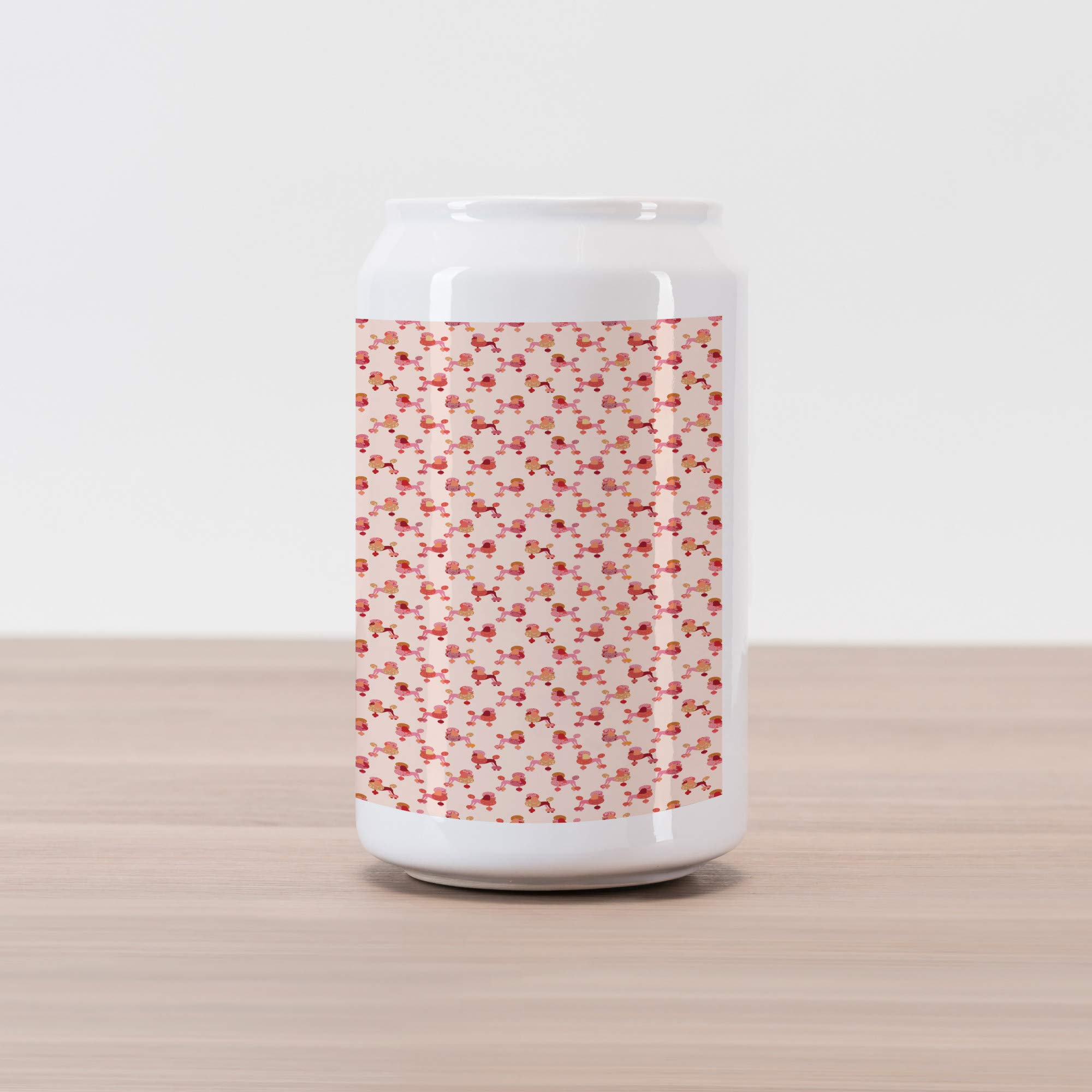 Ambesonne Dogs Cola Can Shape Piggy Bank, Feminine Pattern in Pink Shades with Poodles Ornamented with Abstract Floral Motifs, Ceramic Cola Shaped Coin Box Money Bank for Cash Saving, Multicolor