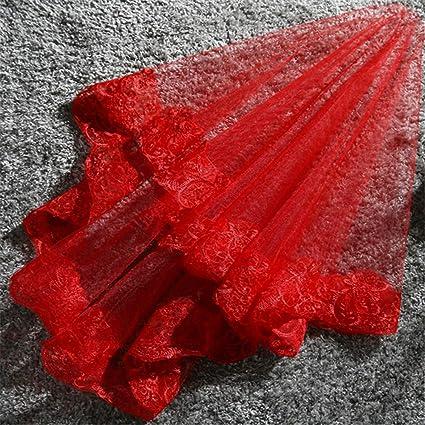 ADS Velo De Novia Hermoso Rojo Blanco De Una Sola Capa Encaje Encaje Vestido De Novia
