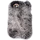 """iPhone 6 Case, Bling Diamond Fluffy Cover [Genuine Rex Rabbit Fur Case] Winter Wammer Handmade Soft Case Caselo 3 Pieces Accessories For iPhone 6, Extreme Luxury Bling Cover + Free Stylus Pen + Free Screen Proctetor for iPhone 6 4.7""""- Black"""