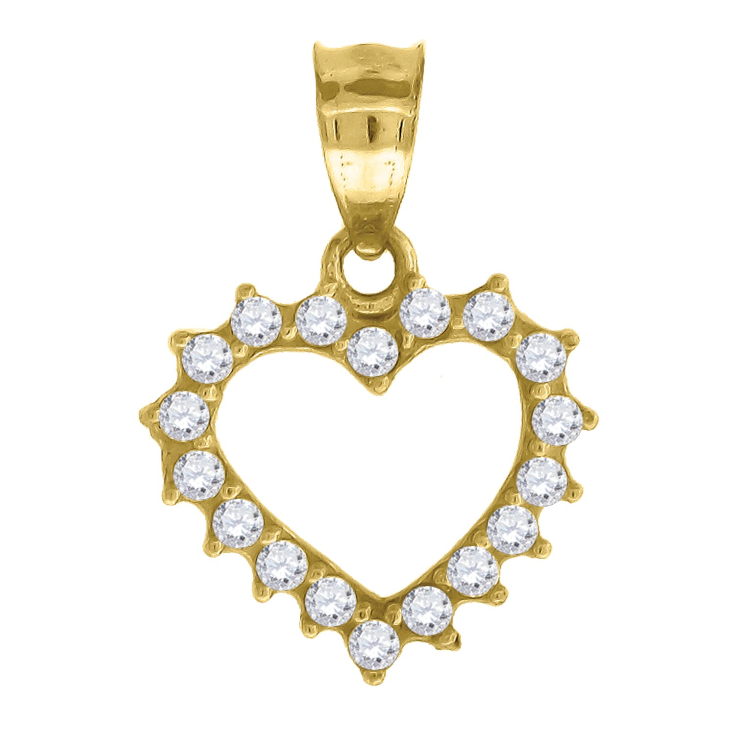 Jewels By Lux 10kt Gold DC Womans Ht:22.5mm x W:15.8mm Heart Charm Pendant Set with Cubic Zirconia that is white in color.