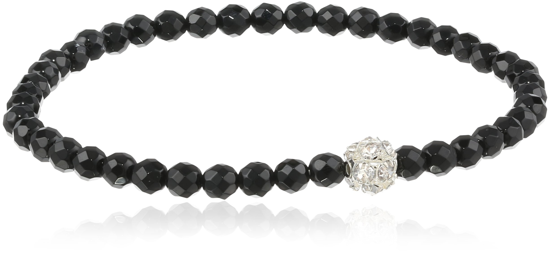 Silver-Tone Rhinestone Fireball Accent on Black Spinel Stretch Bracelet 7.5''