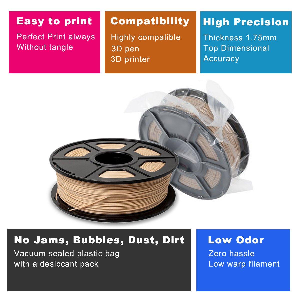 3D Filamento de Madera PLA + 1.75mm - 0.5KG/180m Filamento 3D para ...