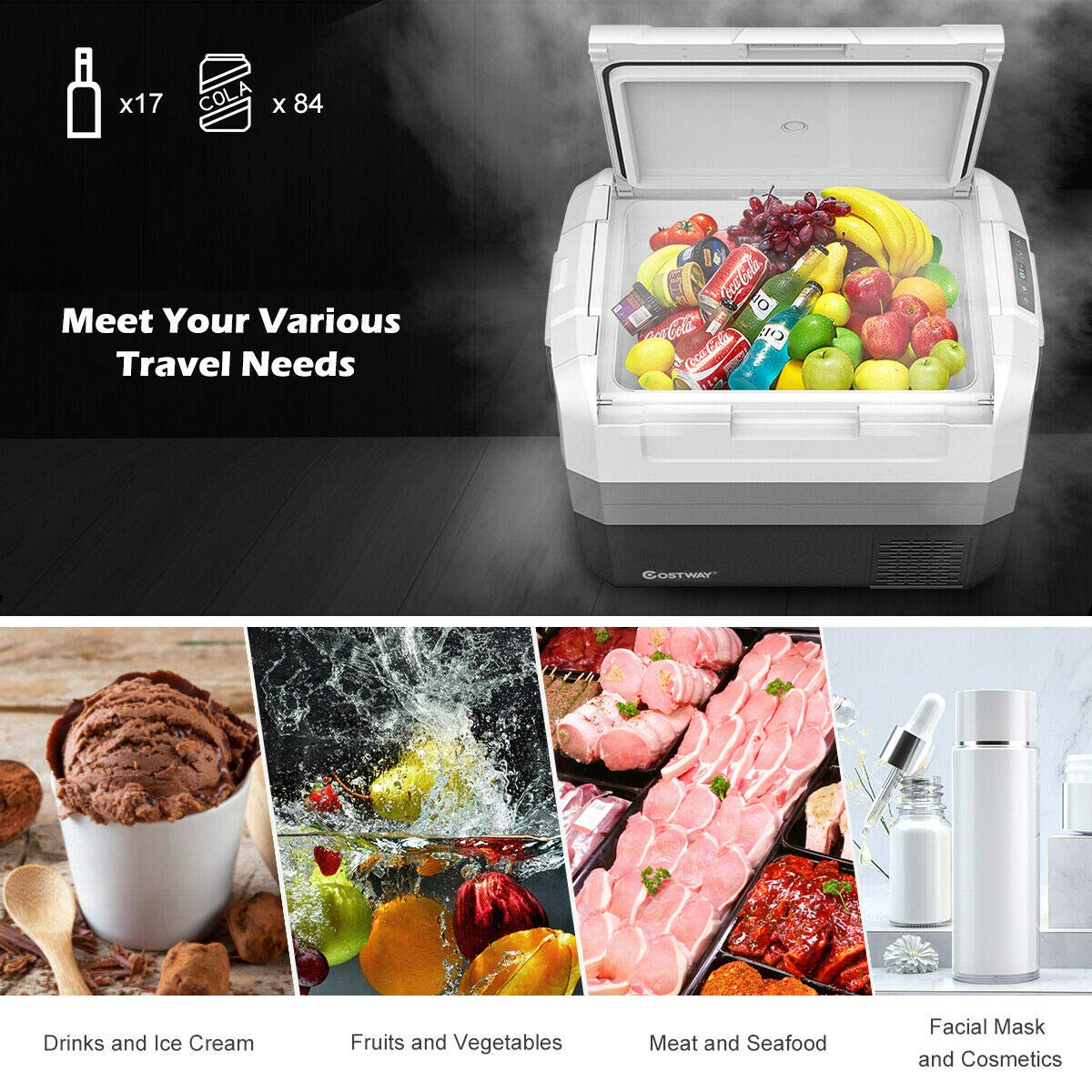 Operating Panel Compact RV Refrigerator and Cooler for Outdoor and Home Use -14.8/°F to 50/°F COSTWAY Portable Car Freezer 58-Quart Compressor Travel Fridge with Two-way Open Door Groove Design