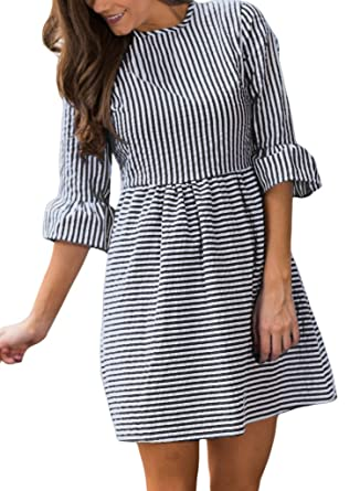 324de4e8ce0 HOTAPEI Women s Casual Summer 3 4 Sleeve Fit and Flare Mini Dress  Sundresses at Amazon Women s Clothing store