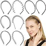 Folora 8pcs Unisex Black Spring Wavy Metal Hair Hoop Band Men Women Sports Headband Headwear Bandeau Accessories
